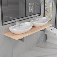 Betterlifegb - Three Piece Bathroom Furniture Set Ceramic Oak14662-Serial number