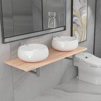 Betterlifegb - Three Piece Bathroom Furniture Set Ceramic Oak14663-Serial number