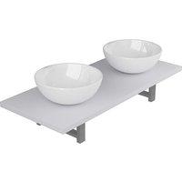 vidaXL Three Piece Bathroom Furniture Set Ceramic White - White