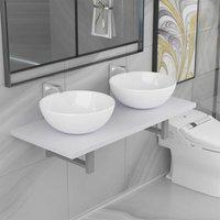 Betterlifegb - Three Piece Bathroom Furniture Set Ceramic White14658-Serial number