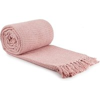 Throw Blanket Sofa Bed Throwover 100% Cotton Recycled Honeycomb Blush 90x100