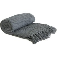 Throw Blanket Sofa Bed Throwover 100% Cotton Recycled Honeycomb Charcoal 90x100