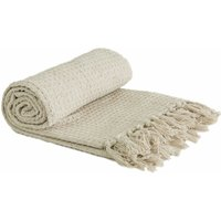 Throw Blanket Sofa Bed Throwover 100% Cotton Recycled Honeycomb Ivory 90x100