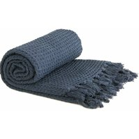 Throw Blanket Sofa Bed Throwover 100% Cotton Recycled Honeycomb Navy 90x100