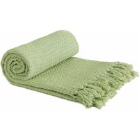 Throw Blanket Sofa Bed Throwover 100% Cotton Recycled Honeycomb Pistachio 90x100