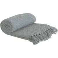 Throw Blanket Sofa Bed Throwover 100% Cotton Recycled Honeycomb Silver 90x100