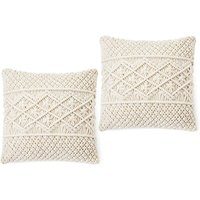 Bearsu - Throw Pillow Cover Macrame Pillow Case Decorative Cushion Cover for Bed Sofa Couch Bench Car Boho Home Decor,Set of 2(Pillow Inserts Not