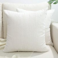 Throw Pillow Covers, Decorative Pillow Covers 18X18, Set of 2 Soft Corduroy Square Cushion Case Home Decor for Couch, Bed, Sofa, Bedroom, Car ,