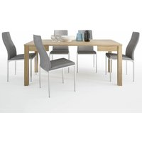 TiaMaria Dining set package TiaMaria Extending Dining Table + 6 Lillie High Back Chair Grey. - NETFURNITURE