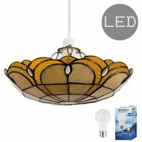 Tiffany Amber Jewelled Glass Uplighter Ceiling Pendant Light Shade + 6W LED Gls Bulb - Warm White - MINISUN
