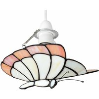 Tiffany White / Peach Glass Butterfly Ceiling Pendant Light
