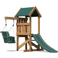 Toddlers Climbing Frame MicroFort - Baby Swing Outdoor Pressure Treated Childrens Garden Slide Wooden Play Tower - DUNSTER HOUSE LTD.