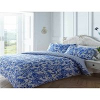 Bedmaker - Toile Oriental Single Duvet Quilt Cover and 1 Pillowcase Bedding Bed Set Floral Blue
