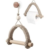Toilet Paper Holder, Self Adhesive Toilet Roll Holder, Wooden Toilet Paper Holder, Creative Wall Mounted Toilet Paper Holder (Wood and Rope)
