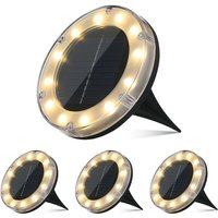 4Pack Solar Disk Lights Warm White 12 LEDs Ground Deck Lamp IP65 Water-resistant Outdoor Underground Light for Patio Garden Pathway Lawn Yard
