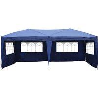 Tonnelle tente de reception pliante pavillon chapiteau barnum 3 x 6 m bleu cotes demontables - HOMCOM