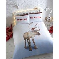 Tonys Textiles Reindeer Christmas 100% Cotton Flannelette Double Quilt Duvet Cover and 2 Pillowcase Bed Set (King)