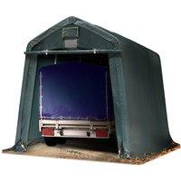 Abri/Tente garage PREMIUM 2,4 x 3,6 m pour voiture et bateau - toile PVC env. 500g/m² imperméable vert fonce