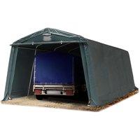 Abri/Tente garage PREMIUM 3,3 x 6,2 m pour voiture et bateau - toile PVC env. 500g/m² imperméable vert fonce - INTENT24.FR