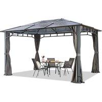 TOOLPORT ALU DELUXE Garden Gazebo 3x4m waterproof 8mm polycarbonate roof pavilion 4 side walls/panels Party Tent grey 9x9cm profile - HOUSE OF TENTS