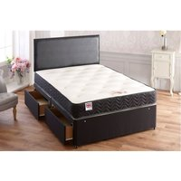 Topaz Sprung Memory Foam Divan bed With 2 Drawer Same Side And Headboard Small Single - BED CENTRE