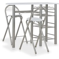 Topdeal 3 Piece Bar Set with Shelves Wood and Steel White VDTD24937