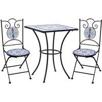Topdeal 3 Piece Mosaic Bistro Set Ceramic Tile Blue and White VDTD36128