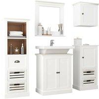 Topdeal 5 Piece Bathroom Furniture Set Solid Wood White VDTD24723