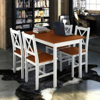 Topdeal 5 Piece Dining Set Brown and White VDTD08430