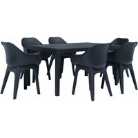 Topdeal 7 Piece Outdoor Dining Set Plastic Anthracite VDTD19017