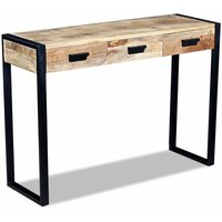 Topdeal Console Table with 3 Drawers Solid Mango Wood 110x35x78 cm VDTD09720