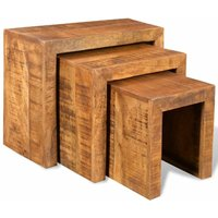 Nesting Table Set 3 Pieces Solid Mango Wood VDTD08557 - Topdeal