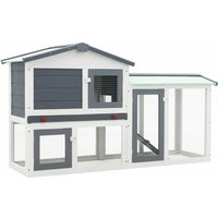Outdoor Large Rabbit Hutch Grey and White 145x45x85 cm Wood VDTD35621 - Topdeal