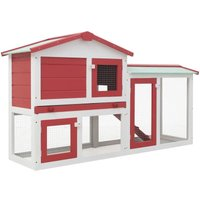 Topdeal Outdoor Large Rabbit Hutch Red and White 145x45x85 cm Wood VDTD35623