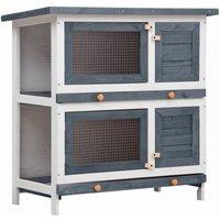 Outdoor Rabbit Hutch 4 Doors Grey Wood VDTD35615 - Topdeal