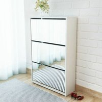 Topdeal Shoe Cabinet 3-Layer Mirror White 63x17x102.5 cm VDTD09614