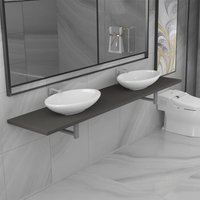 Topdeal Three Piece Bathroom Furniture Set Ceramic Grey VDTD21608