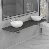 Three Piece Bathroom Furniture Set Ceramic Grey VDTD21609 - Topdeal