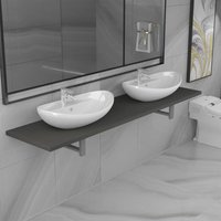 Three Piece Bathroom Furniture Set Ceramic Grey VDTD21610 - Topdeal