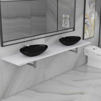 Three Piece Bathroom Furniture Set Ceramic White VDTD21617 - Topdeal