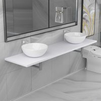 Topdeal Three Piece Bathroom Furniture Set Ceramic White VDTD21618