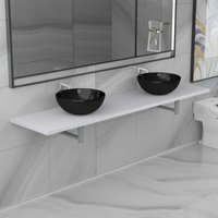 Topdeal Three Piece Bathroom Furniture Set Ceramic White VDTD21619