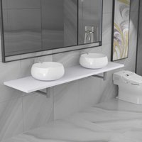 Three Piece Bathroom Furniture Set Ceramic White VDTD21620 - Topdeal
