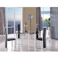 Modern Furniture Direct - Torino Designer 74cm-120cm Extending Dining Table with 4 Elsa Designer Dining Chairs [Black]