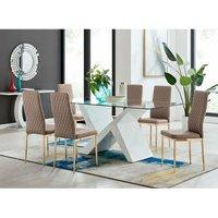 Torino Large Rectangular Dining Table and 8 Cappuccino Gold Leg Milan Chairs