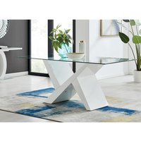 Furniturebox Uk - Torino Large White High Gloss And Glass Modern Dining Table