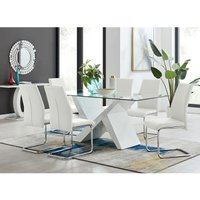 Furniturebox Uk - Torino White High Gloss And Glass Modern Dining Table And 6 White Lorenzo Chairs Set