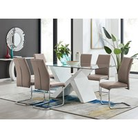 Torino White High Gloss And Glass Modern Dining Table And 6 Cappuccino Grey Lorenzo Chairs Set - FURNITUREBOX UK