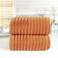 Towel Set 100% Cotton Orange Spice 2 Piece Bath Sheets Ribbed New