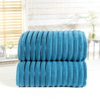 Towel Set 100% Cotton Teal Blue 2 Piece Bath Sheets Ribbed New